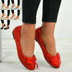 New Womens Ladies Flat Dolly Pumps Ballerina Ballet Slip On Bow Shoes Size Uk