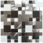 Modern Cobble White Glass Stainless Steel Tile - Backsplash Fireplace Wall Decor