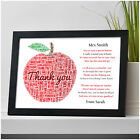 Thank You Teacher Gifts APPLE Personalised Poem Best Teacher Leaving Present