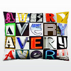 Personalized Pillow featuring the name AVERY in photos of sign letters