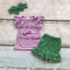 US Kid Baby Girl Little Mermaid 3pcs Clothes Tops T shirt Short Pants Outfit Set