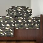 Forest Bear Black Camouflage Brown Woods Organic Sateen Sheet Set by Roostery