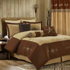 Winslow 7-Piece Brown Oversized Microsuede Embroidery Western Star Comforter Set image