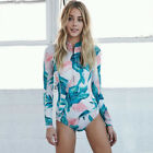 Women Spandex Long Sleeve Swimsuit Surfing Shirts Zipper Padded Sexy Flower Tops $30.31 CAD on eBay