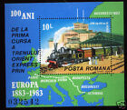 Romania 1983, Orient Express, train, locomotive,map, stations,MS, MNH