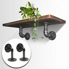 2Pcs Retro Industrial Black Iron Pipe Shelf Bracket Wall Mou