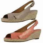 Ladies Clarks Petrina Leigh Coral Or Light Tan Leather Wedge Slingback Sandals