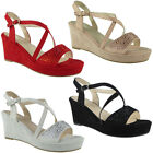 Womens Ladies Platform Peeptoe Party Sequins Wedding Shoes Wedge Sandals Sizes