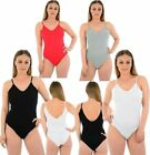Womens Ladies Sleeveless Strappy Cami V Front Back Bodysuit Leotard Dress Top