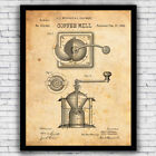Coffee Bean Grinder Mill Patent Kitchen Art Print Decor - Size and Frame Options