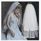 Beautiful  2 Layer White Wedding Veil Bridal Veils Satin Edge With Comb