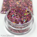 mixed roses - Rose Gold Fire Pink Holographic Hex Glitter Mix | Nail Art, Festival Glitter
