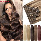 THICK Double Weft Clip In 100% Remy Human Hair Extensions Full Head Brown Blonde
