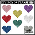 Glitter Hearts Iron-on Fabric Transfers T-shirt  38mm-75mm Craft HTV