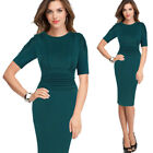 Womens Elegant Ruched Pleated Slim Wear To Work Office Party Pencil Sheath Dress