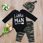 US Stock Newborn Baby Boys Tops Romper Camouflage Pants 3Pcs Outfits Set Clothes