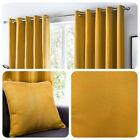 Fusion Sorbonne - Ochre Mustard Yellow 100% Cotton Eyelet Curtains & Cushions