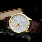Fashion Men's Retro Design Leather Band Watches Analog Alloy Quartz Wrist Watch