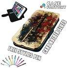 Guitar Music Water Splash Art - LEATHER FLIP WALLET PHONE CASE COVER + STYLUS