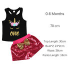 Unicorn Kids Baby Girls T-shirt Tops Letters One Vest+Shorts Sequins Outfits Set