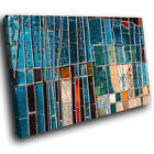 AB1179 blue teal red Modern Retro Abstract Canvas Wall Art Large Picture Prints