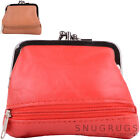 Ladies / Womens Super Soft Nappa Leather Double Clip Frame Purse / Coin Holder
