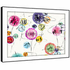 AB1020  Pink White Modern Retro Abstract Framed Wall Art Large Picture Prints
