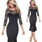 Women Vintage Floral Lace Pinup Cocktail Wedding Party Mermaid Wiggle Midi Dress