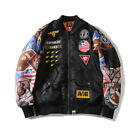 bape baseball jacket - Bape  A Bathing Ape Men Thin Ape Head Badges Flight Bomber Jacket Baseball Coat