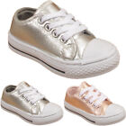 Kids Infants Lace Up Childrens Girls Plimsolls Sneakers Shiny Metallic Shoes UK