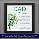 Happy Fathers Day Gifts For Dad Daddy Grandad Personalised Poem For Dad Birthday