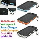 300000mAh Manageable Waterproof Solar Charger Dual USB External Battery Power Bank