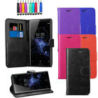 Leather Flip Wallet Case Card Holder Cover For Sony Xperia XZ2 + Screen + Stylus