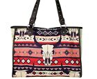 Country Western Steer Head Skull Leather Trim Montana West Canvas Tote Bag