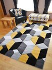 Small Extra Large Warm Ochre Mustard Gold Modern 3D Style Soft Thick Rugs Cheap