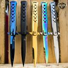 "9"" SPRING ASSISTED TACTICAL STILETTO Folding POCKET KNIFE Blade Open Stainless"