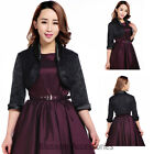 RK99 Women's 3/4 Sleeve Shrug Jacket Rockabilly 80s Costume Gothic Pin Up Retro