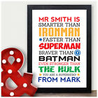 Personalised Teacher Gifts - Superhero Gifts for Male Teacher Sports Coach Him