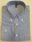 White Blue Stripe Shirt Long Sleeve Relco Button Down Slim Fit Mod 60s S - 3XL