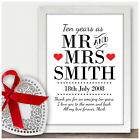 Personalised 10th Wedding Anniversary Gifts Tin Gifts Ten Years As Mr & Mrs