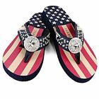 ISABELLA BY MONTANA WEST S066  Patriotic Red White Blue Wedge Flip Flops Sandals