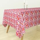 Tablecloth Feathers Birds Pink Ikat Aztec Girl Fashion Cotton Sateen