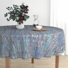 Round Tablecloth Watercolor Impressionist String Yarn Retro Cotton Sateen