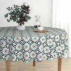 Round Tablecloth Spoonflower0293 Mint Coral Retro Southwestern Cotton Sateen