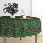 Round Tablecloth Christmas Holiday Retro Fifties Green Red Mid Cotton Sateen