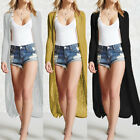 UK 8-24 Fashion Women Long Sleeve Open Front Tops Cardigan Long Coat Jacket Plus