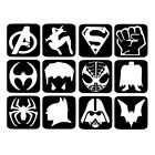 12 x Glitter Tattoo Stencils - Super Hero Refill Face Painting Airbrush Festival