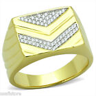 Chevron Micro-Pavé Setting 925 Sterling Silver Shine Gold EP Mens Best HQ Ring