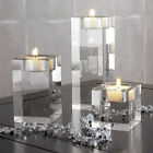 Clear Cube Crystal Glass Candle Holder Tea Light Stand Candlestick Wedding Decor