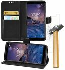 Nokia 7 Plus PU Leather Wallet Flip Case Cover Book with Tempered Glass